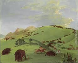 buffalo chase mouth of the yellowstone painting george catlin buffalo chase mouth of