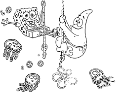 Coloring Pages For Kids Spongebob Patrick And Jellyfish Cartoon