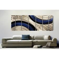 ebb and flow xl oversized silver black and blue modern wall painting
