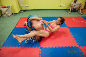2 vs 1 mixed bondage wrestling