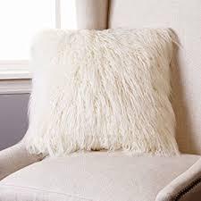 mongolian fur pillow. Fine Mongolian Amazoncom Best Home Fashion Ivory Mongolian Lamb Faux Fur Pillow Cover  18 Intended