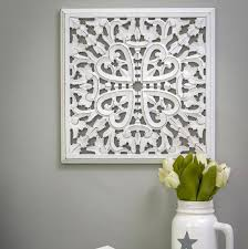 small white carved wall panel wooden