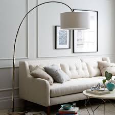 overarching floor lamp. Overarching Linen Shade Floor Lamp - Polished Nickel E