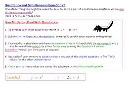 quadratics and simultaneous equations