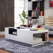 furniture of america kassalie modern two tone white black glass top coffee table