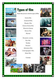 types of movies types of films worksheet free esl printable worksheets made by