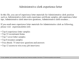 Cover Letter For Admin Clerk Administrative Clerk Experience Letter