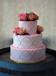 Pink And White Damask Round Wedding Cake With Roses Set On A