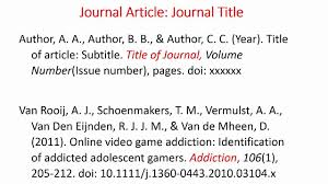 Referencing Journal Articles Using Apa