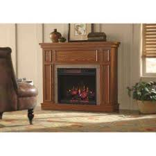 convertible mantel electric fireplace in oak with faux stone surround