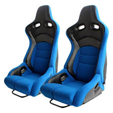 cipher auto cpa2002 viper series blue cloth with carbon leatherette inserts racing seats