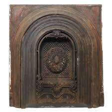 sold magnificent antique cast iron arched fireplace cover surround fleur de lis