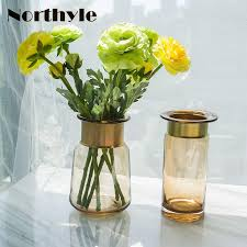 Decorative Glass Vases And Bowls Golden Round Glass Vase Home Decoration Europe Style Floor Vase 1