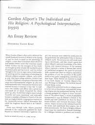 gordon allport s the individual and his religion a psychological gordon allport s the individual and his religion a psychological interpretation an essay review pdf available