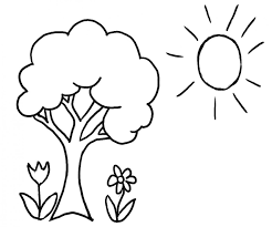 Tree Coloring Pages Spring Tree Flowers And Sun Free Coloring Page