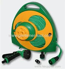 portable flat hose reel with nozzle and