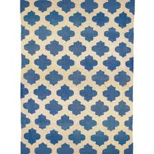 jali ink blue and white wool cotton dhurrie rug