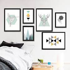 <b>Nordic Style Abstract</b> Geometry Figure Animals Canvas Print ...