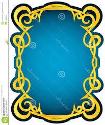 Stock Illustration Vector Gold Frame Blue Elegant Border Image