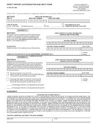 Employee Direct Deposit Authorization Agreement Direct Deposit Authorization And Input Form