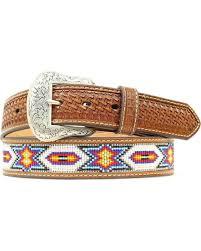nocona beaded inlay leather belt n2412608