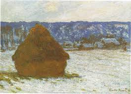 claude monet em stack of wheat snow effect overcast day