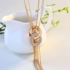 double circles metal tassel long necklace women necklaces pendants female gift32324697665