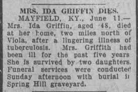 The passing of Ida Shelton Griffin, 1923, Mayfield, KY. - Newspapers.com