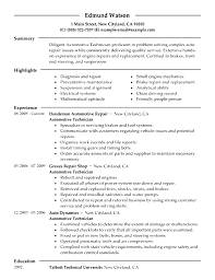 Technician Resume Example Job Sample Automotive Entry Level Cover
