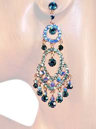 classic sense 3 00 inch crystal chandelier earrings teal blue silver