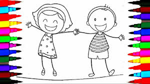 Small Picture School Girl and Boy Coloring Pages l Happy Kids Drawing Coloring