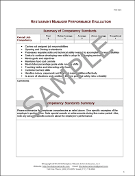 Restaurant Manager Review Forms Restaurant Management Performance Evaluation Form