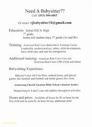 How To Word Babysitting On A Resume Beautiful Infant Nanny Resume