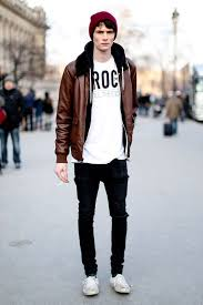 brown leather jacket with white tshirt beanie