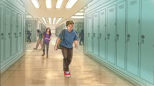 hallway at school. artist jill winterbottom boy walking down school hallway at l