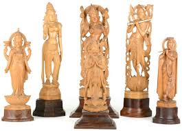 indian sculptures of s in hand carved wood india mid 20th century