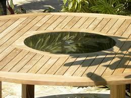 view the full image bermuda teak and granite lazy susan table