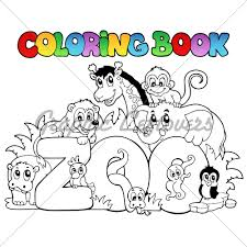 coloring book zoo sign with s vector il