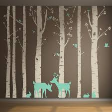 set of 7 birch trees with deer and birds in 2 colors