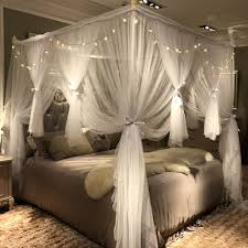 Joyreap 4 Corners Post Canopy Bed Curtain for Girls & Adults - Royal Luxurious Cozy Drape Netting - 3 Opening Mosquito Net - Cute Princess Bedroom ...