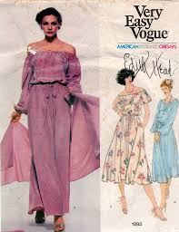 Edith Head Designs Patterns Vogue American Designer 1895 Edith Head Womens Peasant Dress Stole 70s Vintage Sewing Pattern Size 10 Bust 32 1 2 Inches