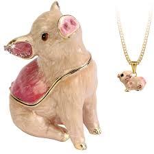 Hidden Treasures By Arora Design Uk Secrets Pig Bejeweled Trinket Box With Hidden Pendant Necklace 2 75