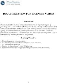 Documentation For Licensed Nurses Pdf Free Download