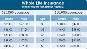 Whole Life Insurance Rates Chart Life Insurance Rates By Age Chart Thelifeisdream