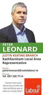 Leaflet From Peter Leonard – Labour – Rathfarnham LAR   Irish Election  Literature