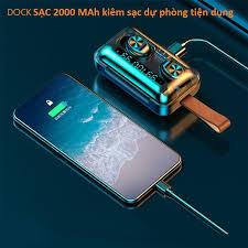 Tai Nghe True Wireless VINETTEAM F9 PRO Bluetooth V5.0 Pin 2000 mAh Kiêm  Sạc dự phòng - Hàng Chính Hãng - Tai nghe True Wireless