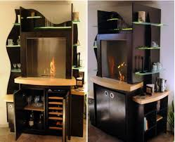 Wooden cabinet with built in fireplace and a wine cooler HomeCrux