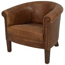 english georgian style leather roundback child's club chair for