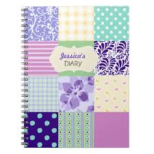 pink purple and green personalized girly diary notebook