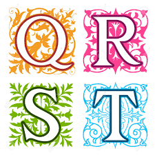 Decorative Q, R, S, T, alphabet letters with vintage floral elements in